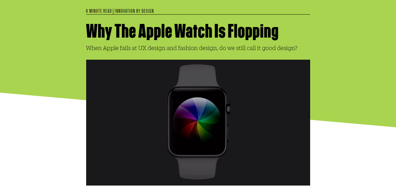 Screenshot of FastCoDesign 'Why the Apple Watch is flopping' article, by Mark Wilson.