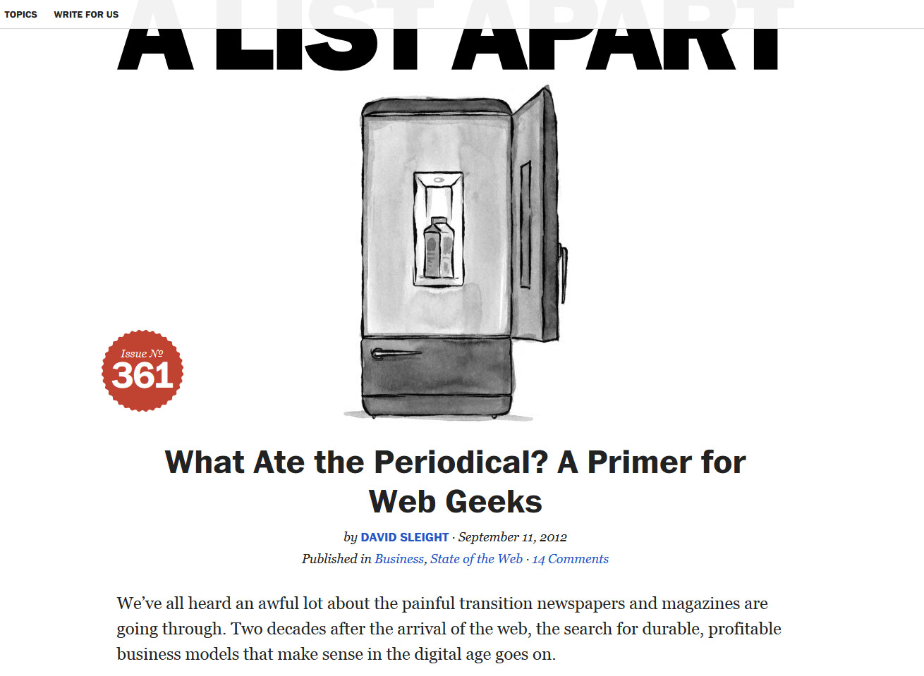 A list Apart - 'What Ate the Periodical - A Primer for Web Geeks' article