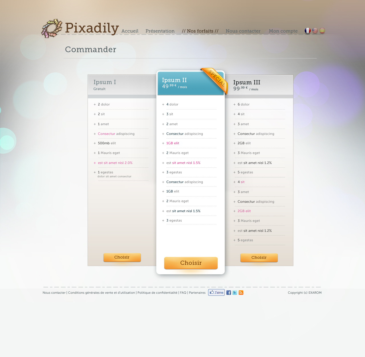 Pixadily - Pricing table - Details screenshot