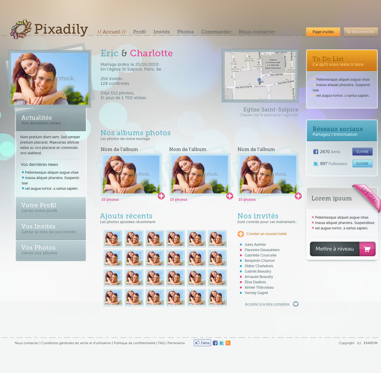 Pixadily - Logged user home page screenshot