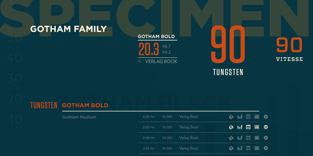 Specimens of Gotham, Verlag, Tungsten, and Vitesse font families