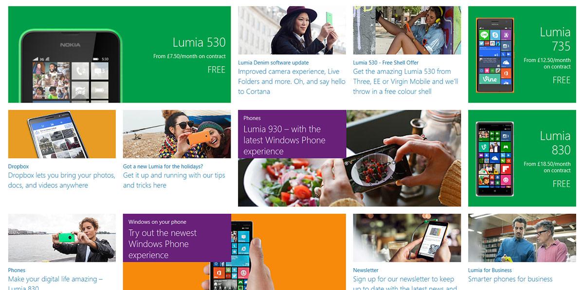 Nokia mobile website screenshot