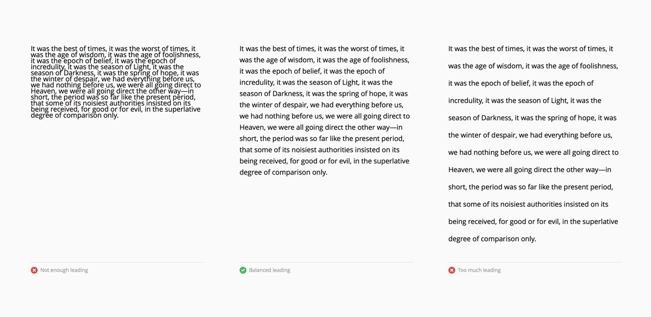 Leading good and bad examples, in the 'The Principles of Design: Readable Typography' article by  Kjell Reigstad, Designer at Automattic.