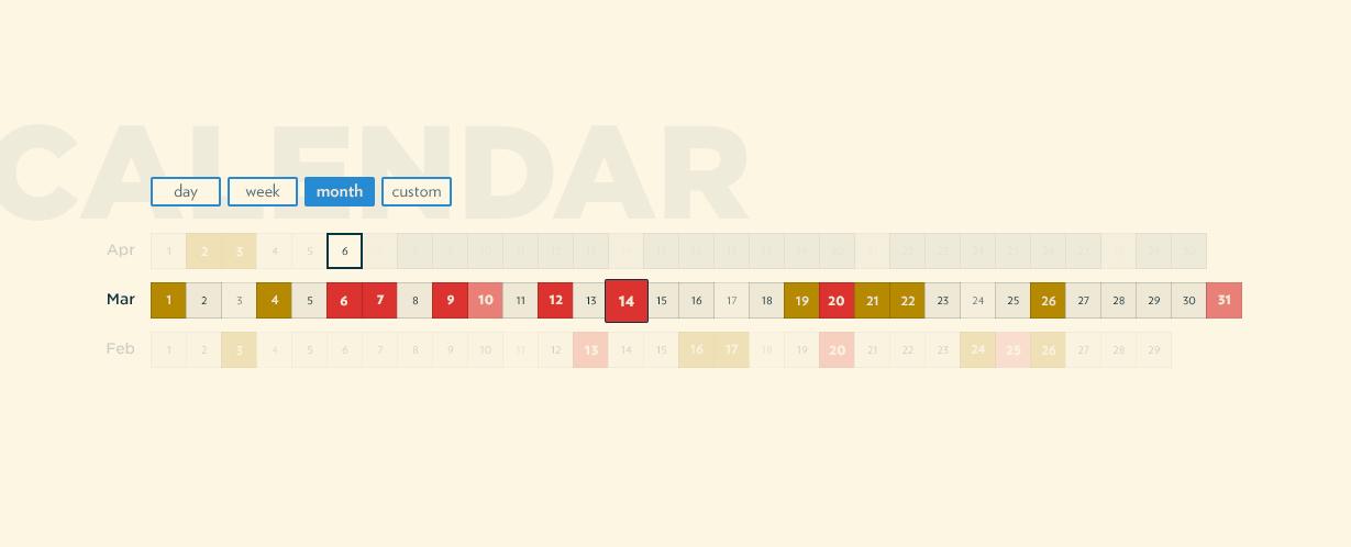 Witbe - Calendar - months filter on - screenshot